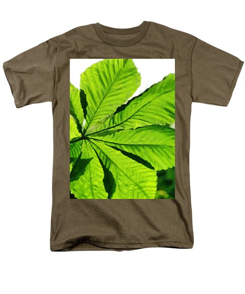 Men's T-Shirt  (Regular Fit) featuring the photograph Sun On A Horse Chestnut Leaf by Steve Taylor