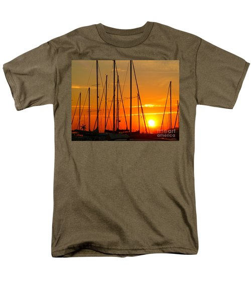 Men's T-Shirt  (Regular Fit) featuring the mixed media Sunset In A Harbour Digital Photo Painting by Rogerio Mariani