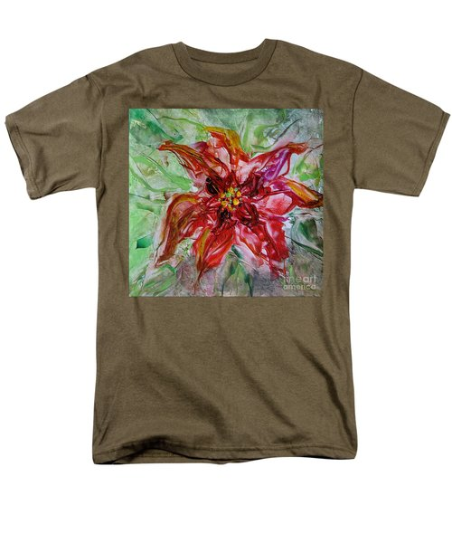 Men's T-Shirt  (Regular Fit) featuring the painting The Christmas Poinsettia by Dragica  Micki Fortuna