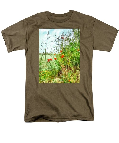 Men's T-Shirt  (Regular Fit) featuring the digital art The Edge Of The Field by Steve Taylor