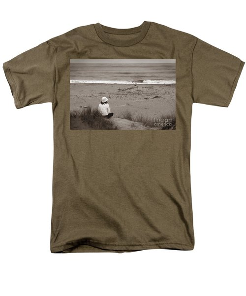 Watching The Ocean In Black And White Men's T-Shirt  (Regular Fit)