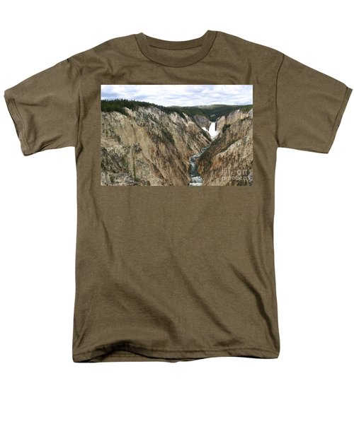 Men's T-Shirt  (Regular Fit) featuring the photograph Wide View Of The Lower Falls In Yellowstone by Living Color Photography Lorraine Lynch