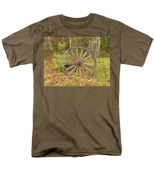 Men's T-Shirt  (Regular Fit) featuring the photograph Wood Spoked Wheel by Sherman Perry