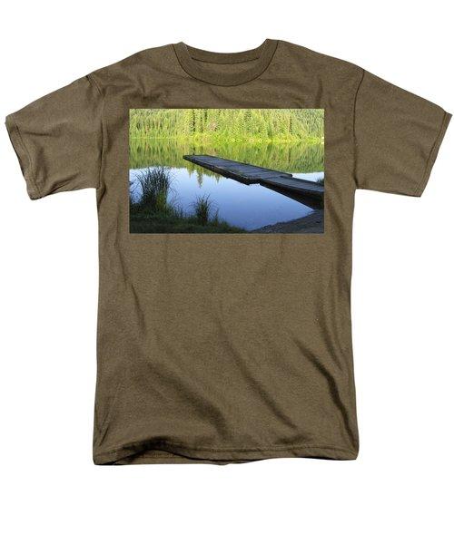 Men's T-Shirt  (Regular Fit) featuring the digital art Wooden Dock On Lake by Anne Mott