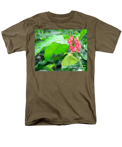 Yellow Sulphur On Porterweed Men's T-Shirt  (Regular Fit) by Judy Wanamaker
