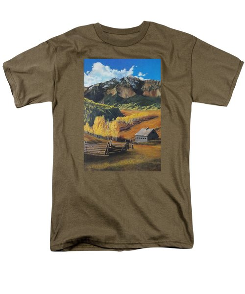 I Will Lift Up My Eyes To The Hills Autumn Nostalgia  Wilson Peak Colorado Men's T-Shirt  (Regular Fit) by Anastasia Savage Ealy