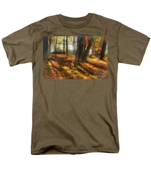 Men's T-Shirt  (Regular Fit) featuring the painting Autumn Shadows In The Blue Ridge Ap by Dan Carmichael