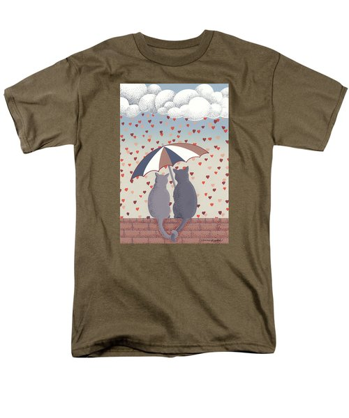Men's T-Shirt  (Regular Fit) featuring the mixed media Cats In Love by Anne Gifford