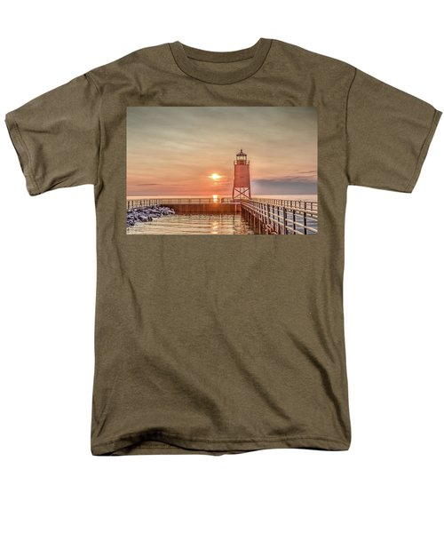 Men's T-Shirt  (Regular Fit) featuring the photograph Charelvoix Lighthouse In Charlevoix, Michigan by Peter Ciro