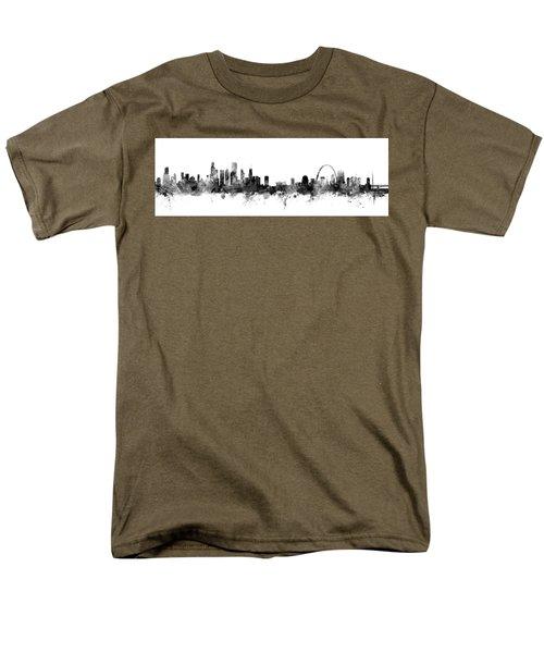 Chicago And St Louis Skyline Mashup Men's T-Shirt  (Regular Fit) by Michael Tompsett