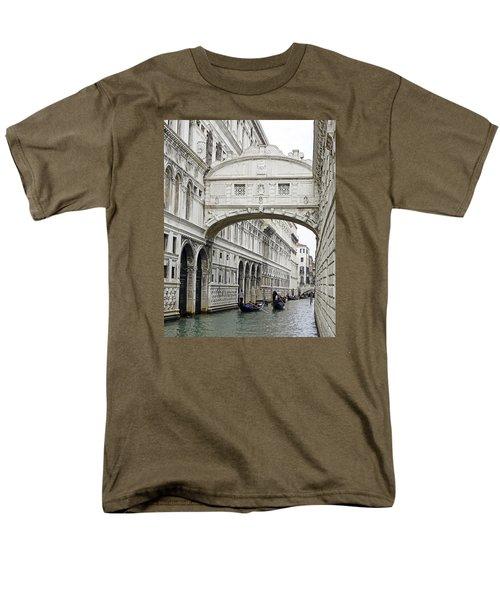 Gondolas Going Under The Bridge Of Sighs In Venice Italy Men's T-Shirt  (Regular Fit) by Richard Rosenshein