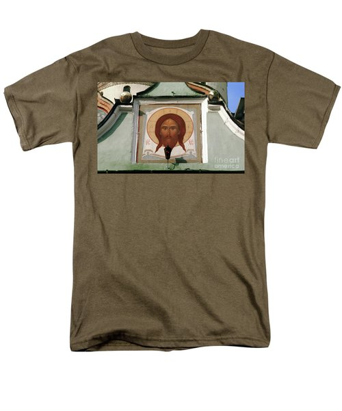 Jesus Icon Trinity Lavra Of St. Sergius Monastery In Sergiev Posad Men's T-Shirt  (Regular Fit) by Wernher Krutein