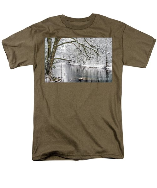 Men's T-Shirt  (Regular Fit) featuring the photograph March Snow Along Cranberry River by Thomas R Fletcher