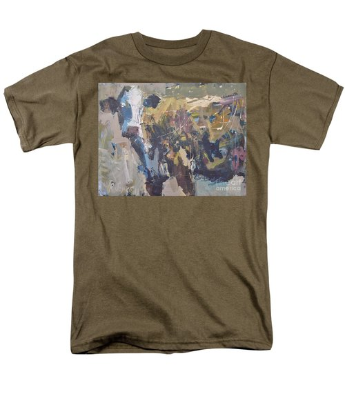 Men's T-Shirt  (Regular Fit) featuring the painting Modern Abstract Cow Painting by Robert Joyner