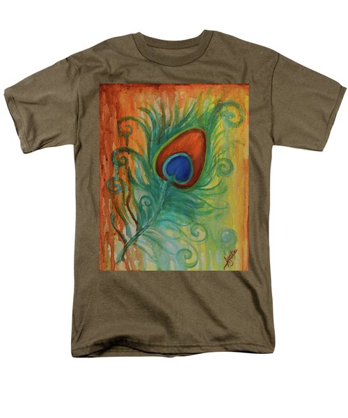 Men's T-Shirt  (Regular Fit) featuring the painting Peacock Feather by Agata Lindquist