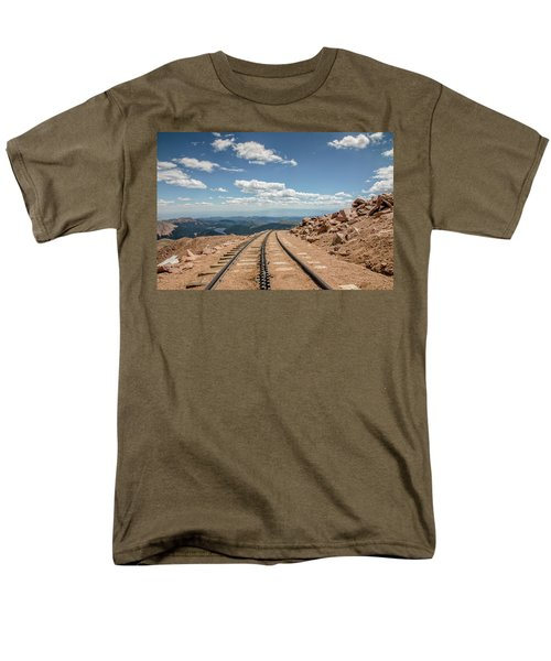 Men's T-Shirt  (Regular Fit) featuring the photograph Pikes Peak Cog Railway Track At 14,110 Feet by Peter Ciro
