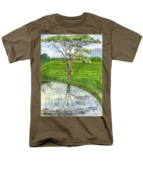 Men's T-Shirt  (Regular Fit) featuring the painting Rain Tree On The Way To Ubud Bali Indonesia by Melly Terpening