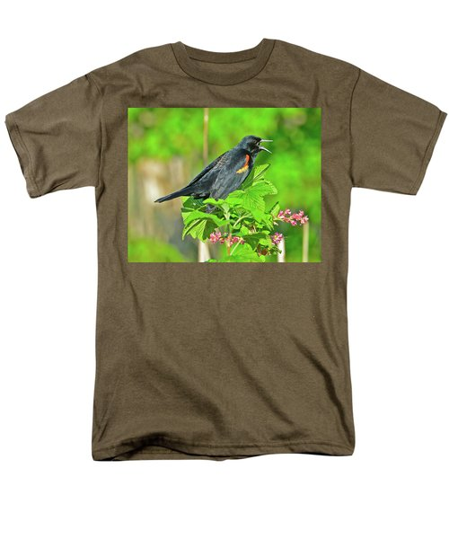 Men's T-Shirt  (Regular Fit) featuring the photograph Red-winged Blackbird by Jack Moskovita