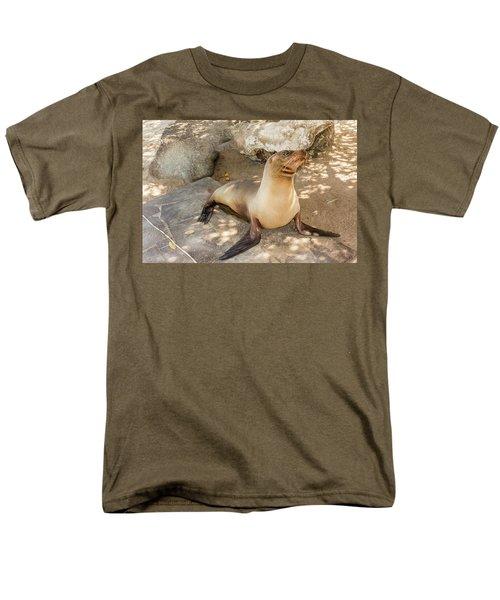 Sea Lion On The Beach, Galapagos Islands Men's T-Shirt  (Regular Fit) by Marek Poplawski