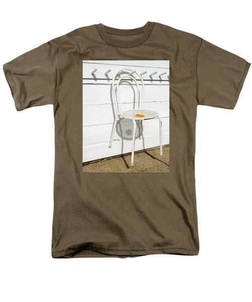 Men's T-Shirt  (Regular Fit) featuring the photograph Shadows Of Suspended White Chair And Autumn Leaf by Gary Slawsky