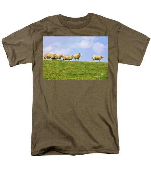 Men's T-Shirt  (Regular Fit) featuring the photograph Sheep On Dyke by Patricia Hofmeester