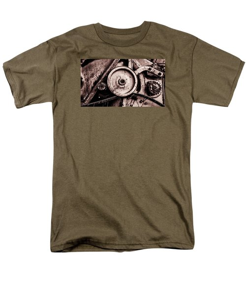 Soviet Ussr Combine Harvester Abstract Cogs In Monochrome Men's T-Shirt  (Regular Fit) by John Williams