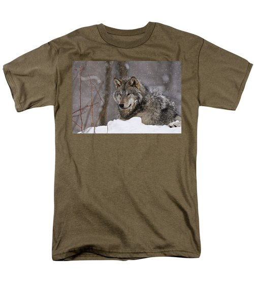 Men's T-Shirt  (Regular Fit) featuring the photograph Timber Wolf In Winter by Michael Cummings