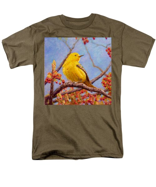 Men's T-Shirt  (Regular Fit) featuring the painting Yellow Warbler by Joe Bergholm