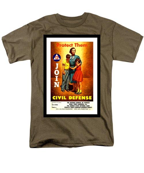 1942 Civil Defense Poster By Charles Coiner Men's T-Shirt  (Regular Fit) by Peter Gumaer Ogden Collection