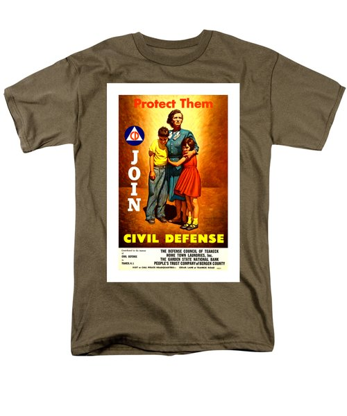 1942 Civil Defense Poster II By Charles Coiner Men's T-Shirt  (Regular Fit)