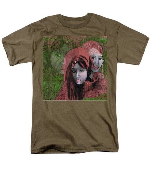 Men's T-Shirt  (Regular Fit) featuring the digital art 1974 - Women In Rosecoloured Clothes - 2017 by Irmgard Schoendorf Welch