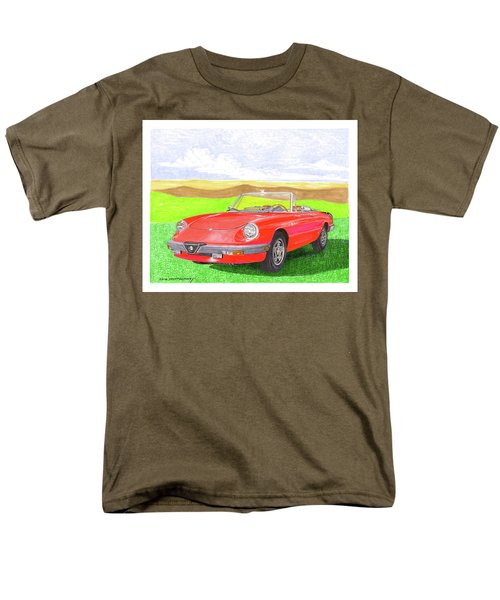 Men's T-Shirt  (Regular Fit) featuring the painting 1983 Alfa Romero Spider Veloce by Jack Pumphrey