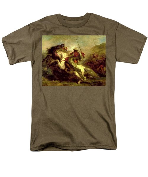 Men's T-Shirt  (Regular Fit) featuring the painting Collision Of Moorish Horsemen by Eugene Delacroix