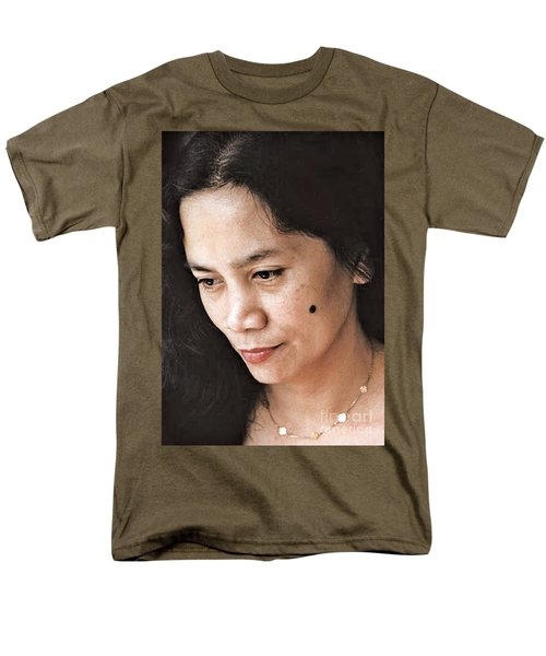 Men's T-Shirt  (Regular Fit) featuring the photograph Filipina Beauty With A Mole On Her Cheek by Jim Fitzpatrick