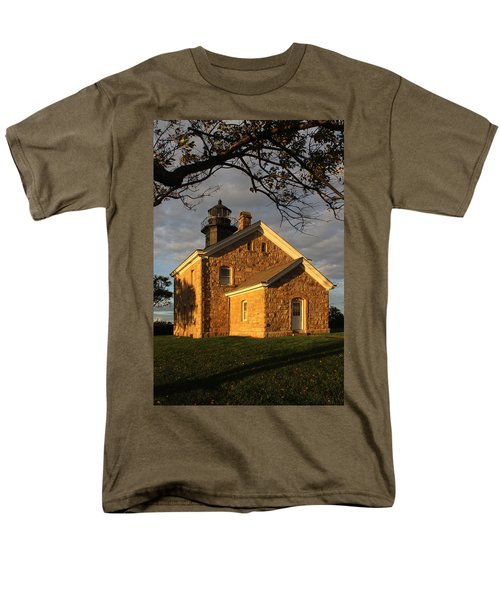 Lighthouse Old Field Point New York Men's T-Shirt  (Regular Fit) by Bob Savage