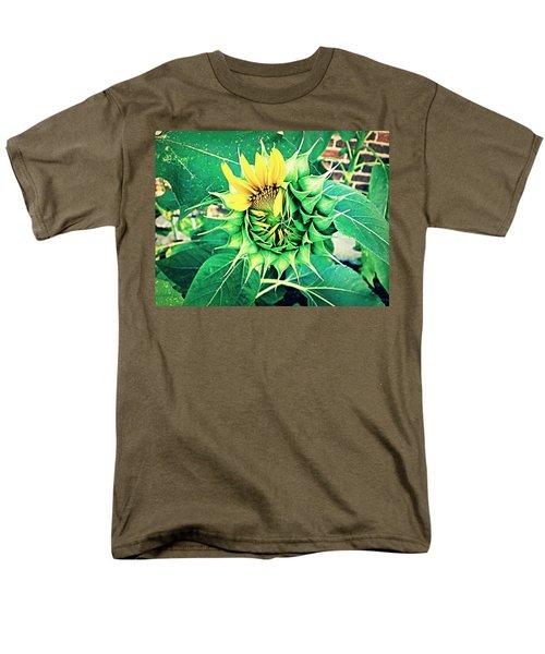 Men's T-Shirt  (Regular Fit) featuring the photograph Peeping Sunflower by Angela Annas