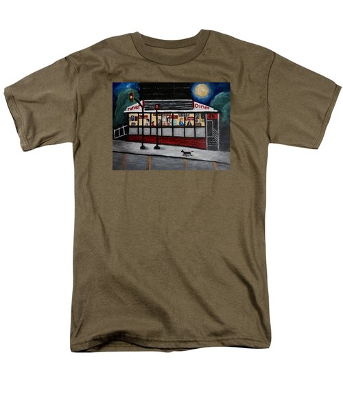 Men's T-Shirt  (Regular Fit) featuring the painting 24 Hour Diner by Victoria Lakes