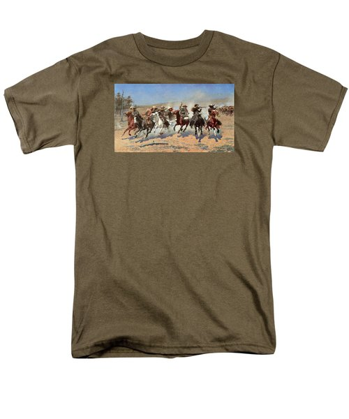 A Dash For The Timber Men's T-Shirt  (Regular Fit) by Frederic Remington