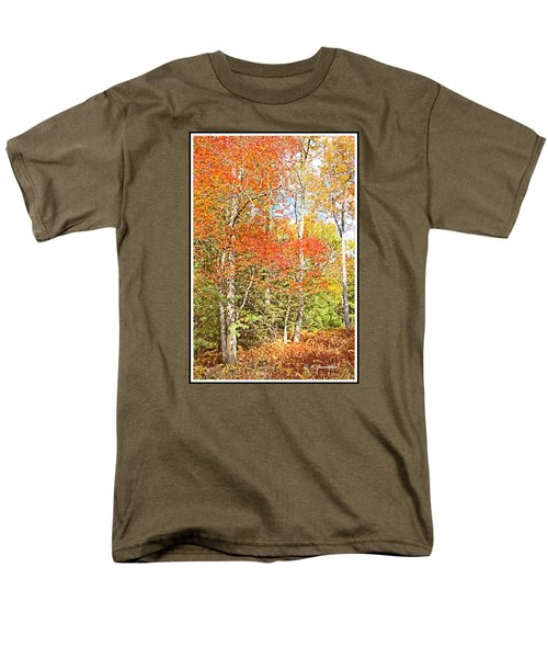 Men's T-Shirt  (Regular Fit) featuring the digital art Forest Interior Autumn Pocono Mountains Pennsylvania by A Gurmankin
