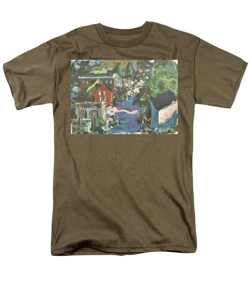 Men's T-Shirt  (Regular Fit) featuring the painting Original Contemporary Urban Painting Featuring Richmond Virginia by Robert Joyner