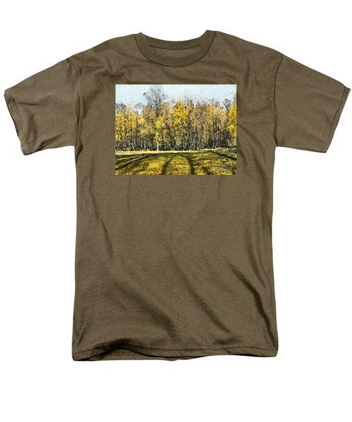 Watercolor Landscape Autumn Painting Forest Men's T-Shirt  (Regular Fit) by Odon Czintos