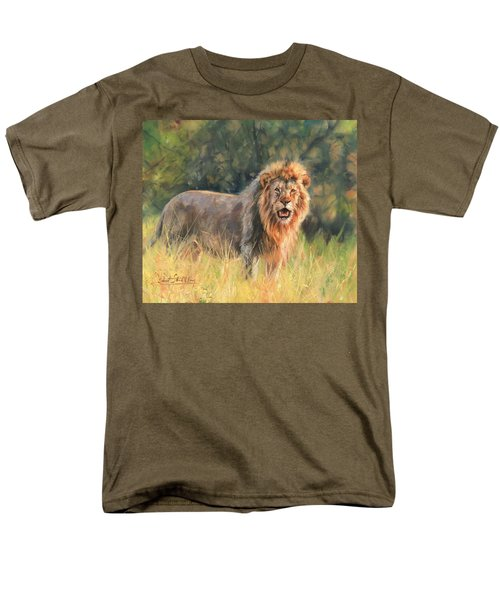 Men's T-Shirt  (Regular Fit) featuring the painting Lion by David Stribbling