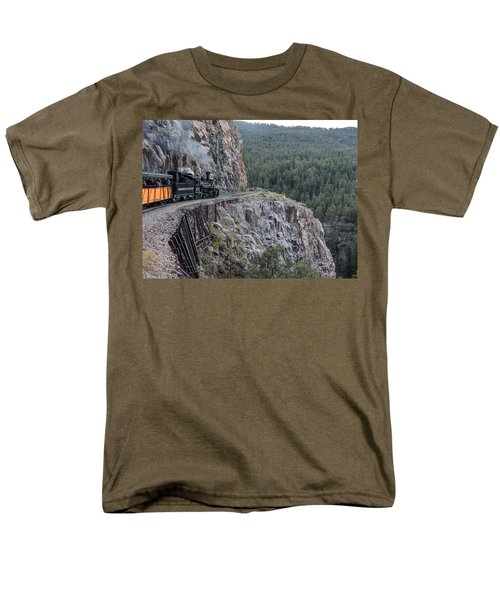 Men's T-Shirt  (Regular Fit) featuring the photograph A Durango And Silverton Narrow Gauge Scenic Railroad Train Along A San Juan Mountains Precipice by Carol M Highsmith