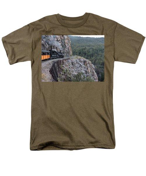 A Durango And Silverton Narrow Gauge Scenic Railroad Train Along A San Juan Mountains Precipice Men's T-Shirt  (Regular Fit) by Carol M Highsmith