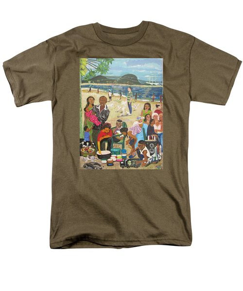 Men's T-Shirt  (Regular Fit) featuring the painting A Heavenly Day - Lumley Beach - Sierra Leone by Mudiama Kammoh