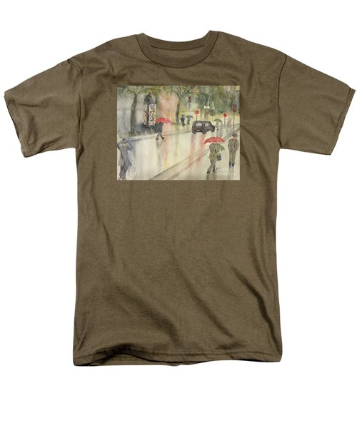 Men's T-Shirt  (Regular Fit) featuring the painting A Rainy Streetscene  by Lucia Grilletto