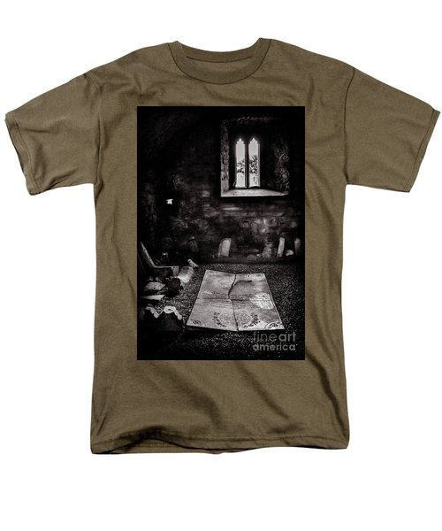 Men's T-Shirt  (Regular Fit) featuring the photograph A Tombstone In Sligo Abbey Bw by RicardMN Photography