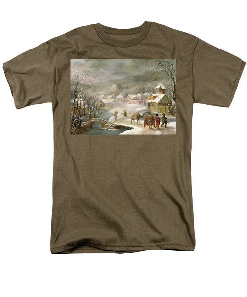 A Winter Landscape With Travellers On A Path Men's T-Shirt  (Regular Fit) by Denys van Alsloot
