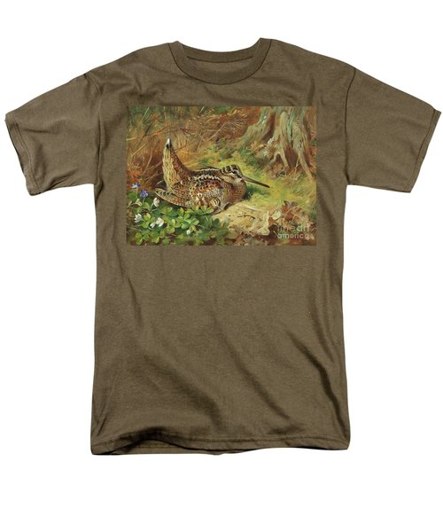 A Woodcock And Chicks Men's T-Shirt  (Regular Fit) by Archibald Thorburn