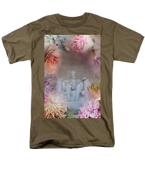 Abraham Lincoln Memorial At Spring Men's T-Shirt  (Regular Fit) by Marianna Mills
